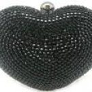 "Verga Rhinestones Heart Bag Case Purse B332A - Black "" FREE Registered Mail"""