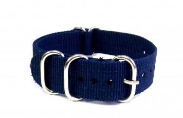 Heavy Duty Premium Quality 5 Rings Military Nato Watchstraps Watch Straps Bands Dark Blue 18mm