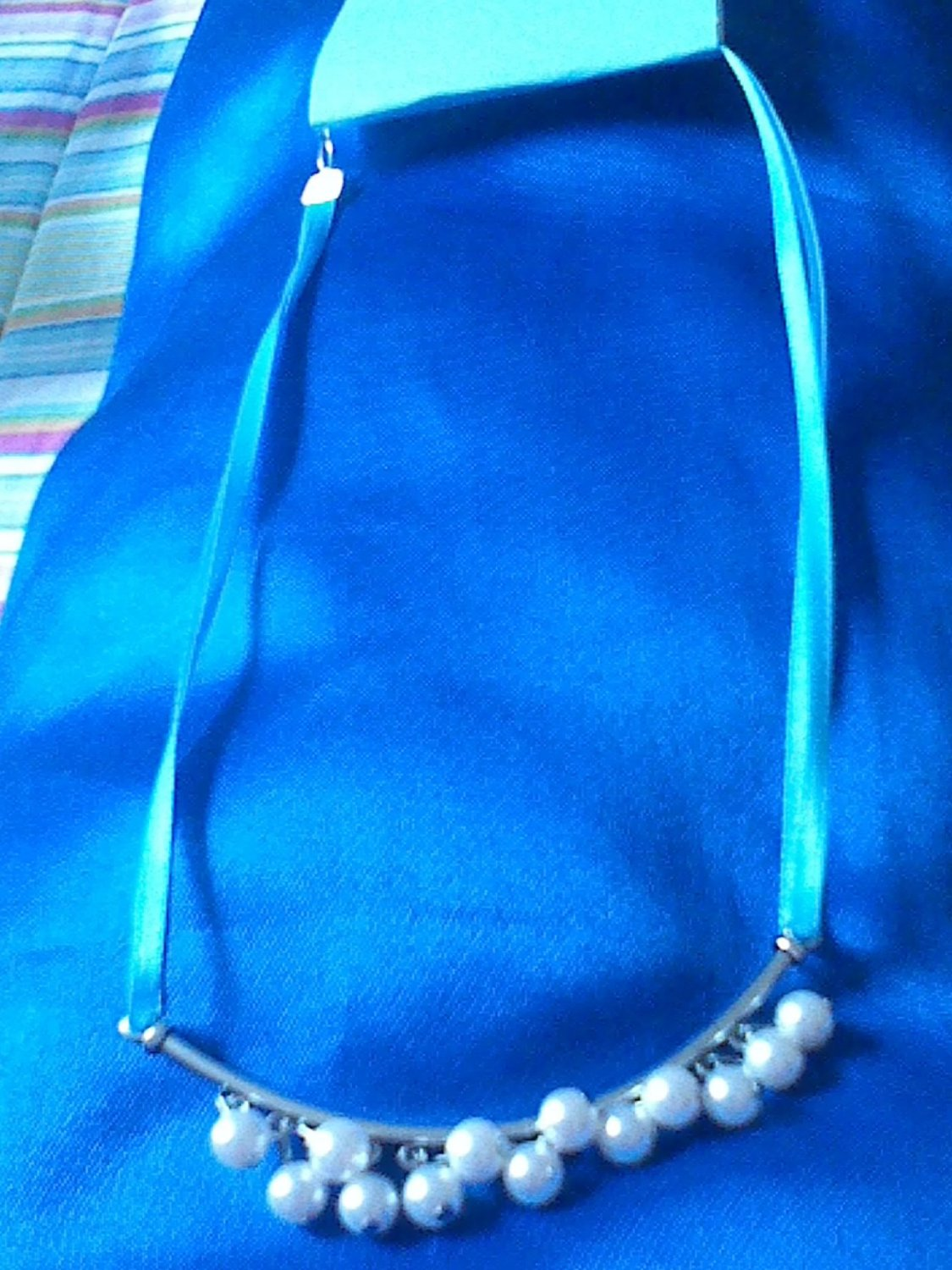 Blue Ribbon and Pearl Dangle necklace