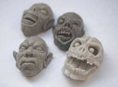 Soap Zombie, Orc & Skull Handmade Soaps x 4 - Apocalypse Head Face Spooky Horror