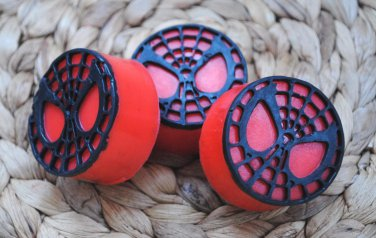 Soap Handmade Spiderman Logo soaps with black webbing � birthday gift, party filler