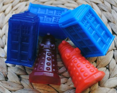 Soap Handmade Doctor Who Soaps x 3 - Tardis, Dalek - Gag, Gift, Party Favor, Shower Favor