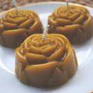 3 x Beeswax Rose Candles - Pure Natural beeswax, Flower, Candle