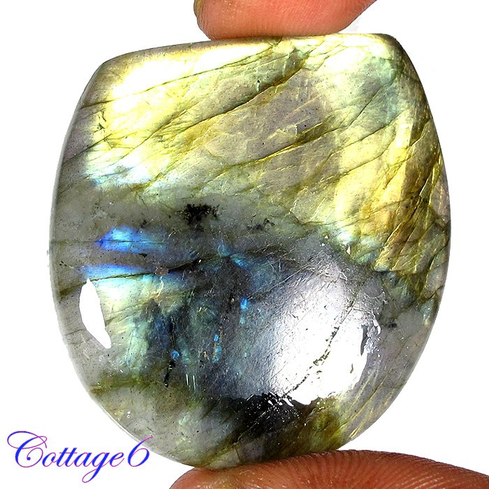 Certified 90.85Cts. NATURAL GOLDEN FLASH LABRADORITE CABOCHON GEMSTONE C6-2647