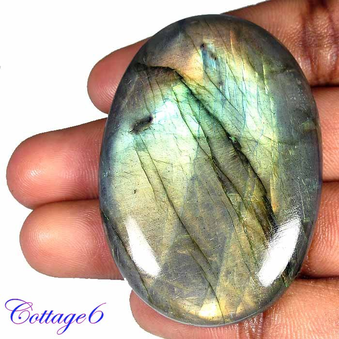 CERTIFIED 180.67Cts. NATURAL GOLDEN FLASH LABRADORITE CABOCHON GEMSTONE C6-234