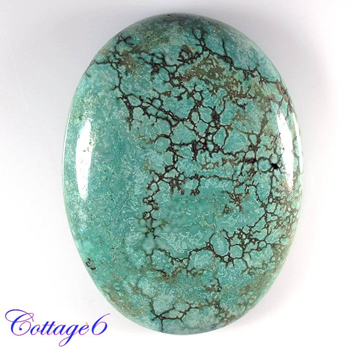Certified 114.05Cts. NATURAL GREEN TIBET TURQUOISE OVAL CABOCHON ROYAL GEMSTONE C6-2113