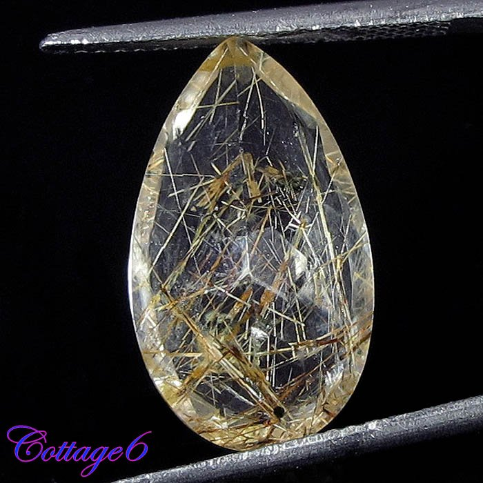 NATURAL RUTILE QUARTZ GOLDEN NEEDLES PEAR CUT GEMSTONE