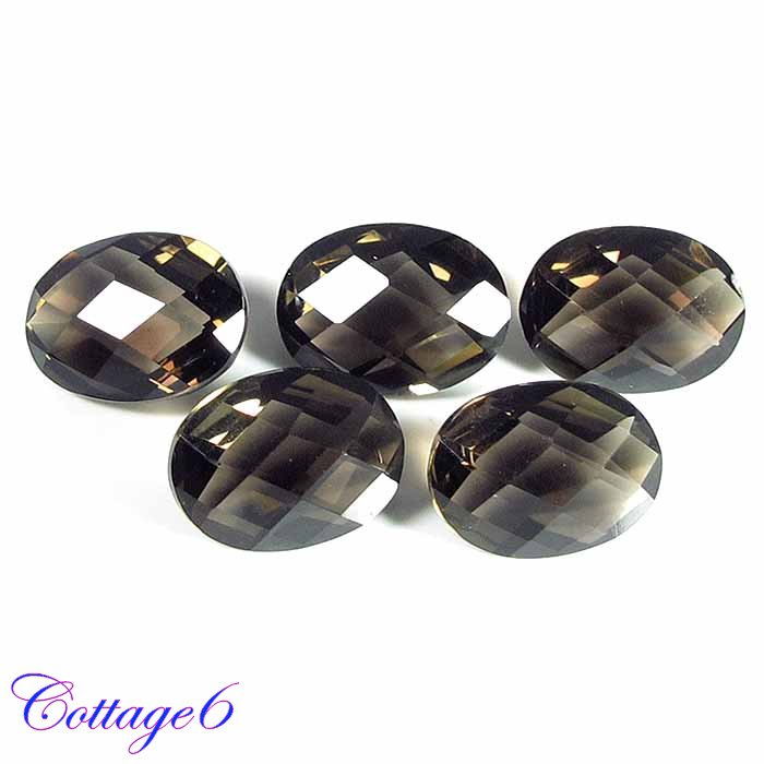 Certified NATURAL SMOKY QUARTZ CHECKERED CUT GEMSTONE WHOLESALE LOT 5pcs. C6-280