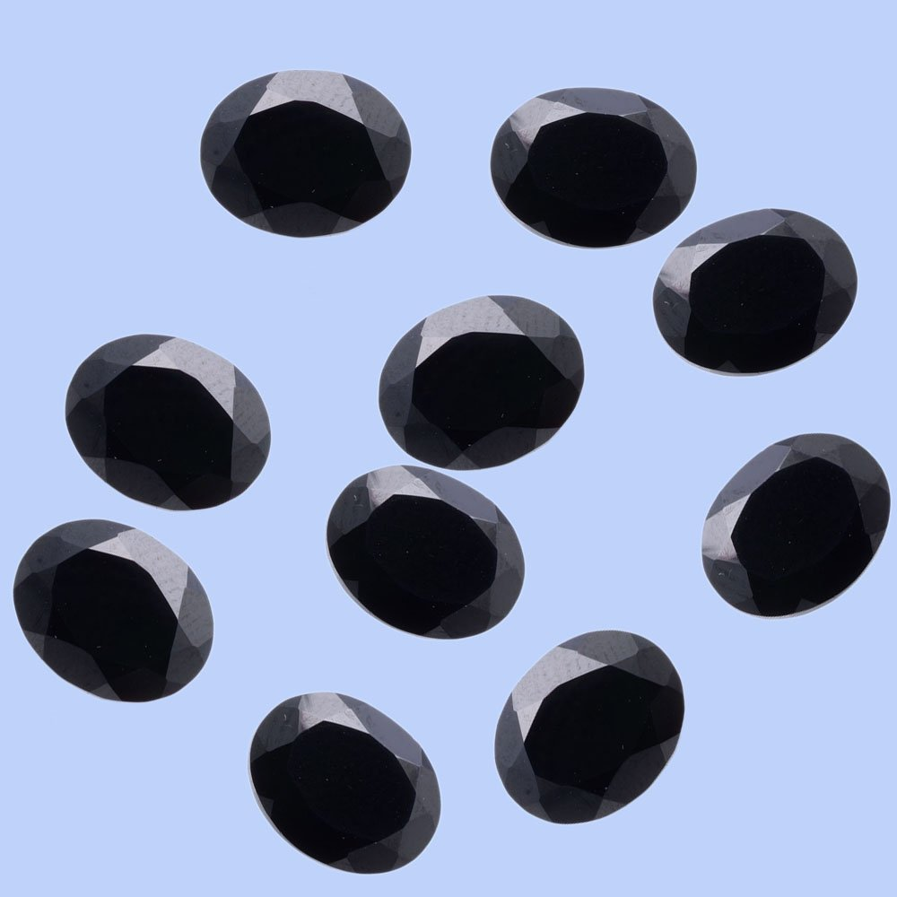 Certified Natural Black Spinel AAA Quality 9x7 mm Faceted Oval 25 pcs lot loose gemstone