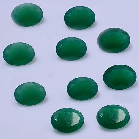 Certified Green onyx AAA Quality 8x6 mm Faceted Oval 10 pcs lot loose gemstone