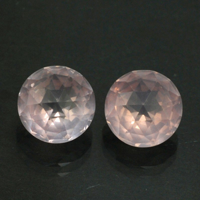 Certified Natural Rose Quartz AAA Quality 10 mm Faceted Round 2 pcs Pair loose gemstone