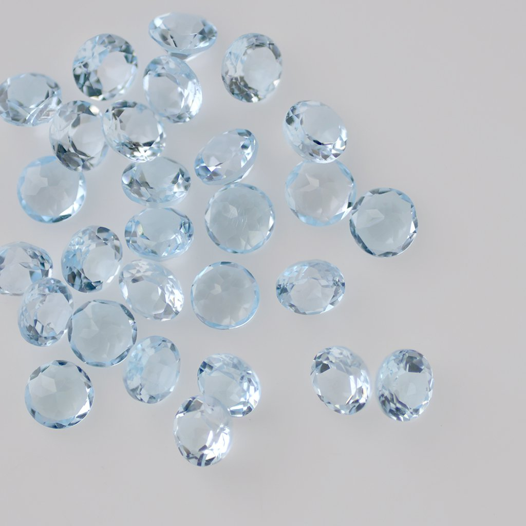 Certified Natural Sky Blue Topaz AAA Quality 8 mm Faceted Round 25 pcs lot loose gemstone