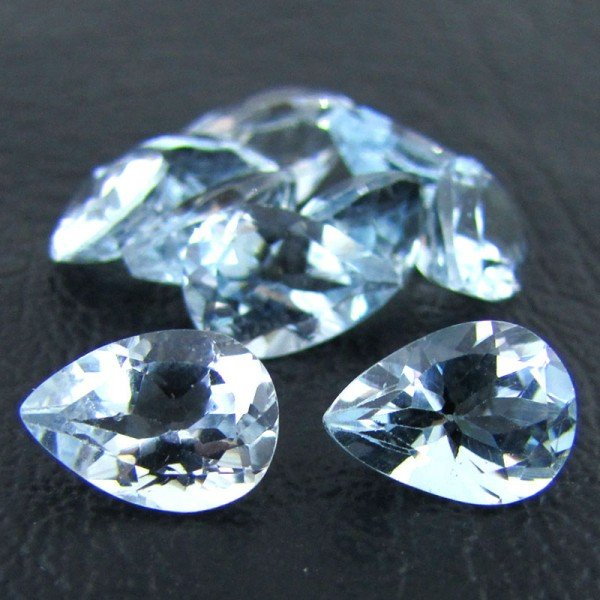 Certified Natural Sky Blue Topaz AAA Quality 8x6 mm Faceted Pear 5 pcs lot loose gemstone