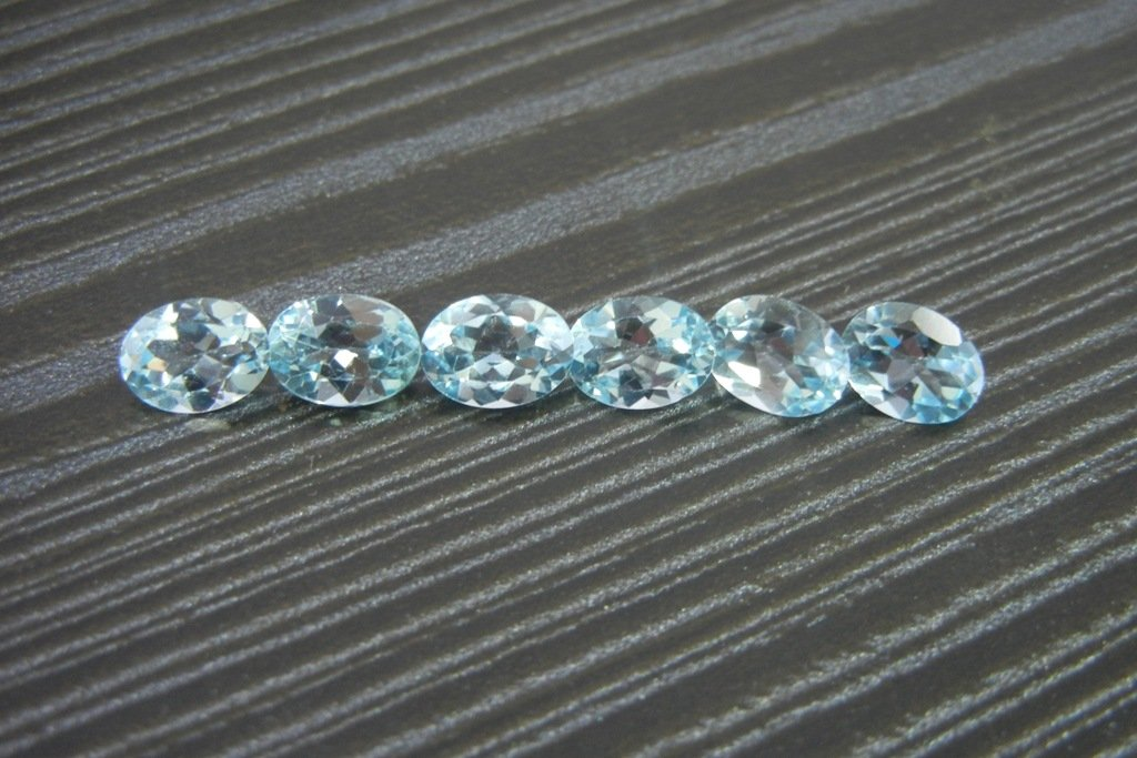 Certified Natural Sky Blue Topaz AAA Quality 6x4 mm Faceted Oval 5 pcs lot loose gemstone
