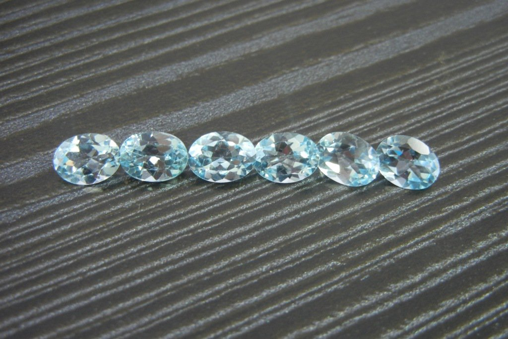 Certified Natural Sky Blue Topaz AAA Quality 7x5 mm Faceted Oval 5 pcs lot loose gemstone