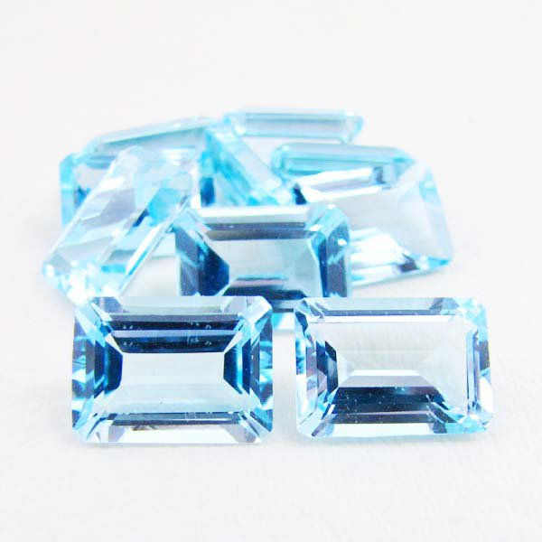 Certified Natural Sky Blue Topaz AAA Quality 7x5 mm Faceted Octagon 25 pcs lot loose gemstone