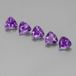 Certified Natural Amethyst AAA Quality 8 mm Faceted Trillion 5 pcs lot loose gemstone