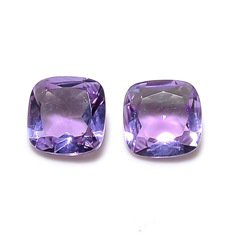 Certified Natural Amethyst AAA Quality 11 mm Faceted Cushion 2 pcs Pair loose gemstone