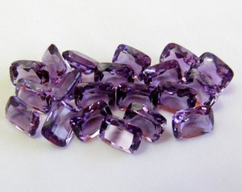 Certified Natural Amethyst AAA Quality 7x5 mm Faceted Cushion 5 pcs lot loose gemstone