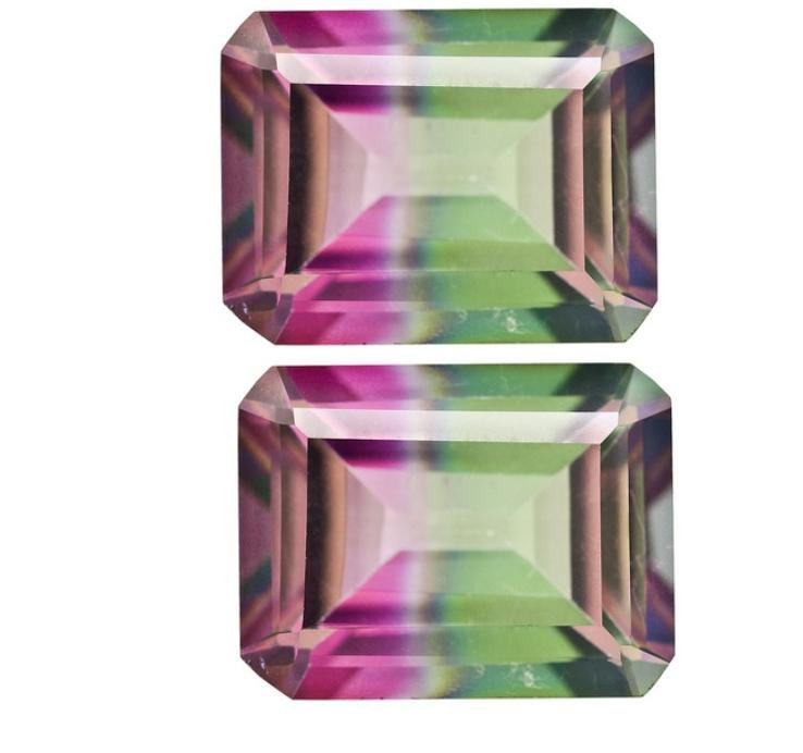 Certified Quartz Doublets Try-color AAA Quality 14x10 mm Faceted Octagon 2 pcs pair loose gemstone