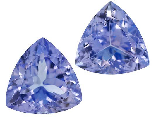 Certified Natural Tanzanite AA Quality 5.5 mm Faceted Trillion 2 pcs pair loose gemstone