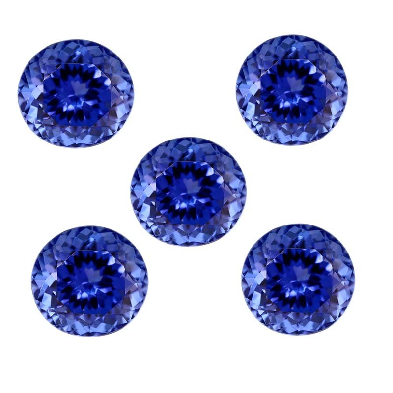 Certified Natural Tanzanite AAA Quality 7 mm Faceted Round 5 pcs lot loose gemstone