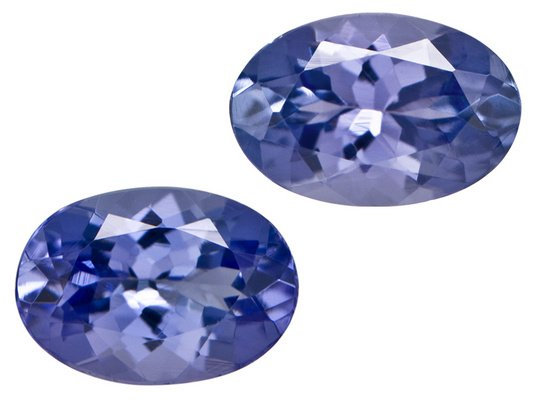 Certified Natural Tanzanite AAA Quality 7x5 mm Faceted Oval 2 pcs pair loose gemstone