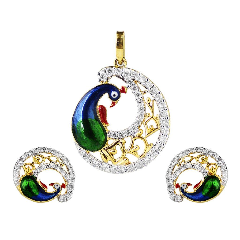 Peacock Designer Earring, Pendant set