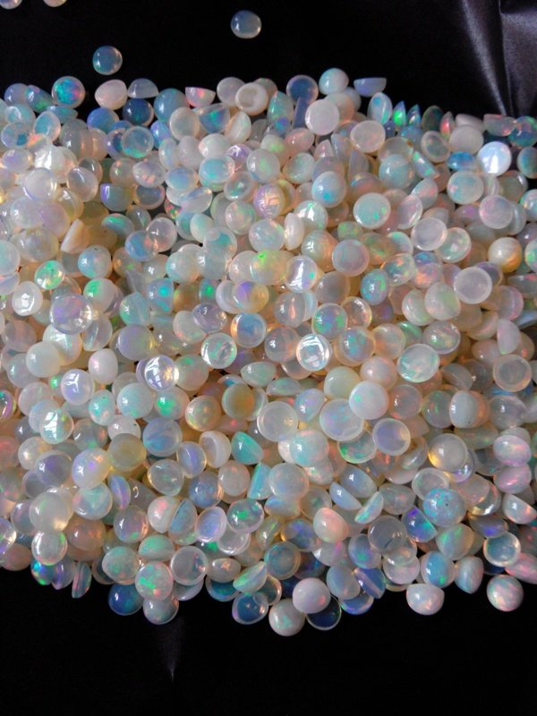 Certified Natural Ethiopian Opal AAA Quality loose Gemstone 3 mm Cabochon Round 2 pieces Pair