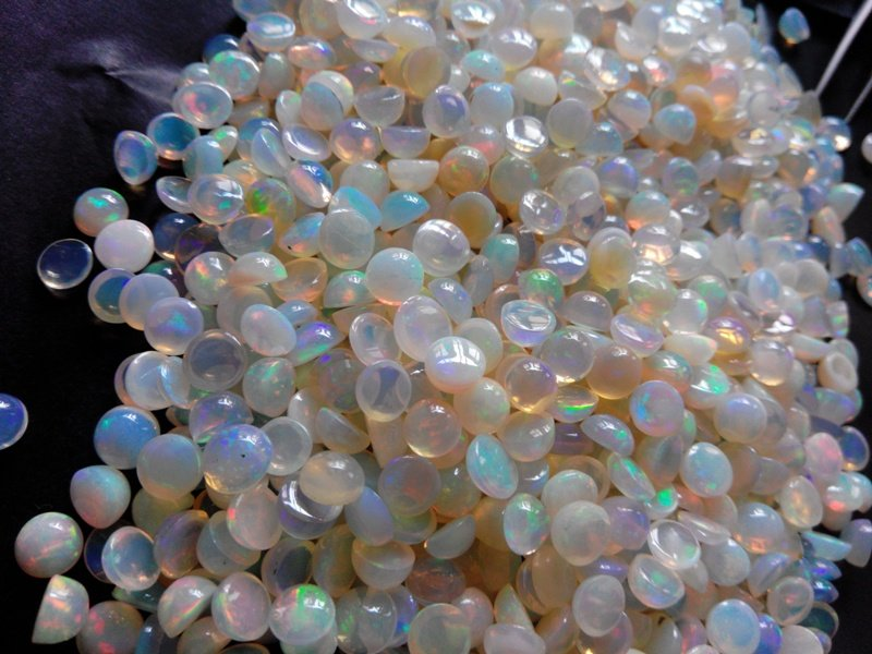 Certified Natural Ethiopian Opal AAA Quality loose Gemstone 3 mm Cabochon Round 25 pieces lot