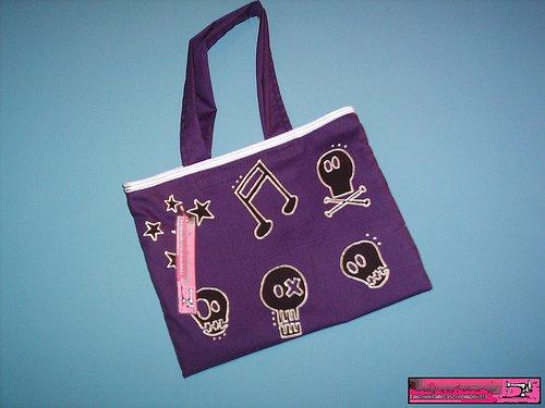 Handpainted violet bag