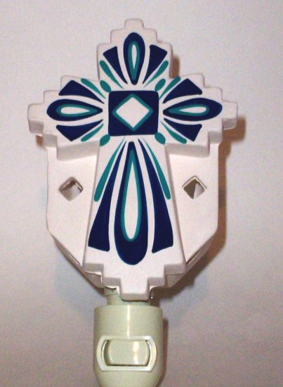 Night Light Cross Blue