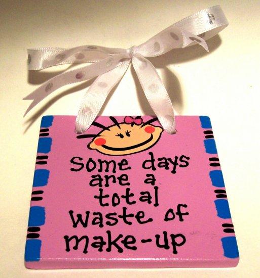 Waste of Make-Up Handpainted Tile