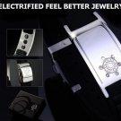 ELECTRIFIED FEEL BETTER EJNP-D003 Silicone & Steel Bracelet with 6 Zircon Stones
