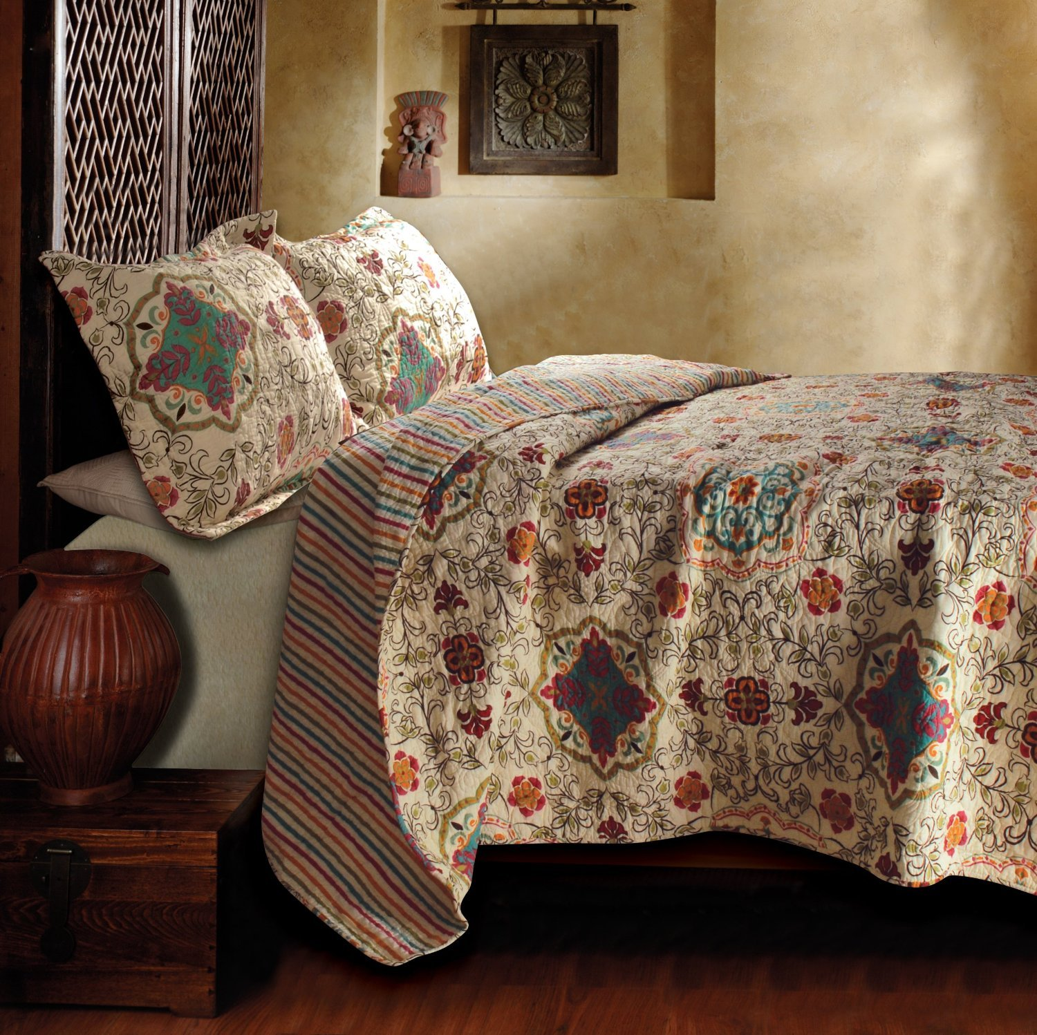 bohemian 3pc queen quilt coverlet set floral paisley