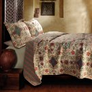 Bohemian 3pc QUEEN Quilt Coverlet Set Floral Paisley Bedspread Moroccan Boho NEW