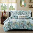 QUEEN 4 Piece Paisley Comforter Set BLUE Flowers Floral Yellow Gray Moroccan Teal Aqua