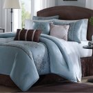 7 Piece QUEEN Comforter Set Blue Cocoa Brown Scroll Soft Madison Park Silky NEW