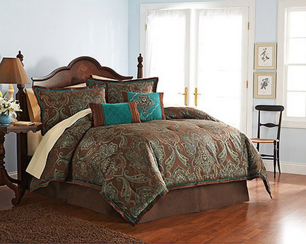 pc full teal brown turquoise blue jacquard paisley comforter set