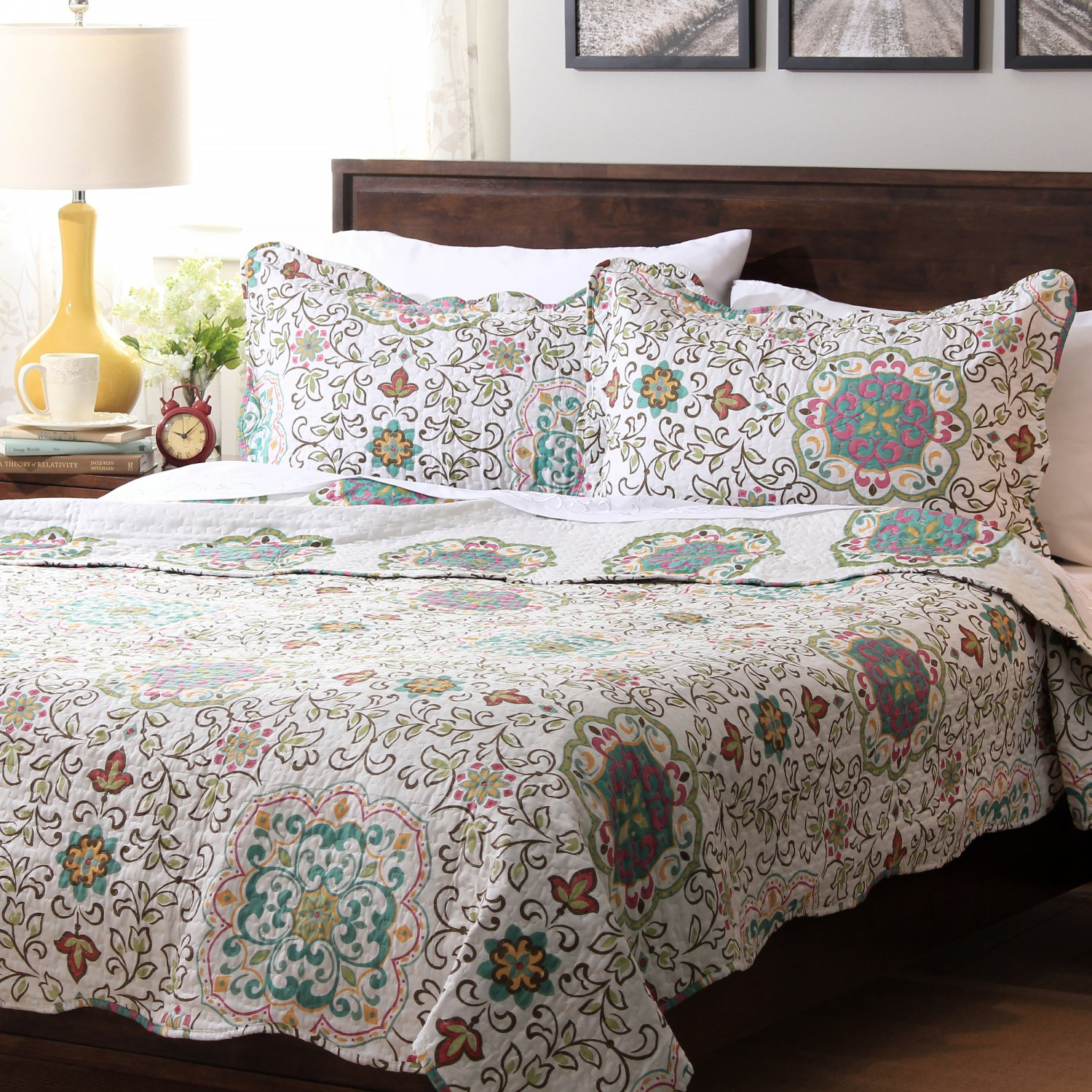 5 Pc Teal Blue Turquoise Paisley Queen Quilt Coverlet