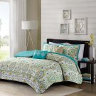 5Pc Teal Blue Green Yellow QUEEN Comforter Set Ogee Floral Moroccan Boho Girl