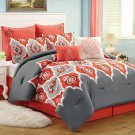 8 Pc Medallion Red Grey QUEEN Comforter Set Boho Gray Moroccan Bohemian Chic NEW