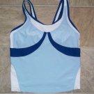 Nike sz M 8-10 athletic Tank top dri fit blues n white