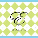 Personalized Blue & Green Diamond Note Cards
