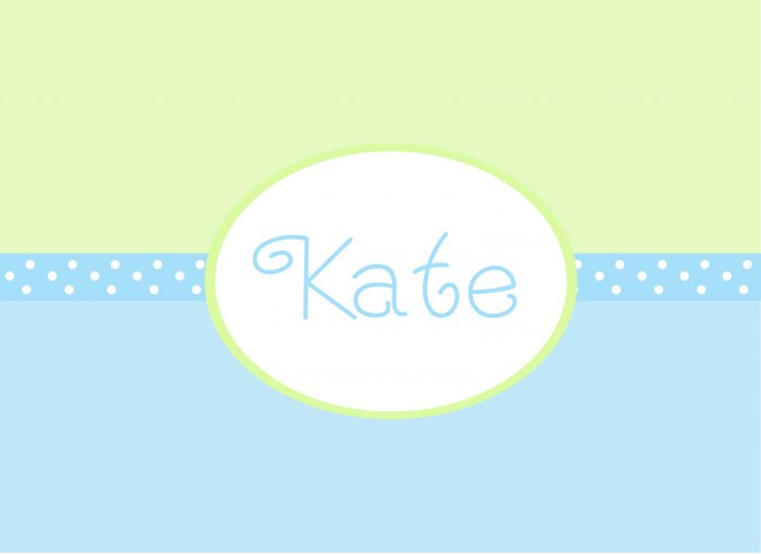 Personalized Blue & Green Dot Band Note Cards