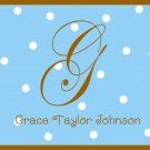 Personalized Blue & Bown Dot Note Cards