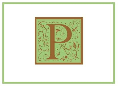 Personalized Green & Bown Monogram Note Cards