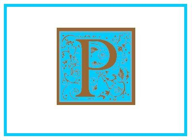 Personalized Blue & Bown Monogram Note Cards