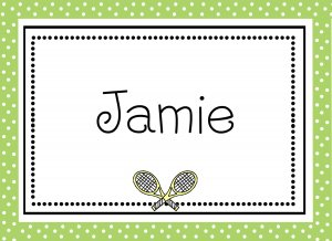 Personalized Tennis with Green Border Note Cards