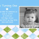 Blue & Green Photo Card Birthday Party Invitations